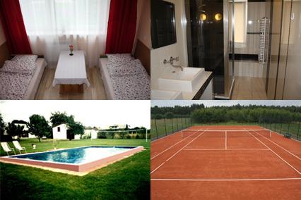 Pokój, łazienka, basen i kort tenisowy - Agropodzamcze